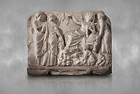 Roman relief sculpture of the Birth of Apollo. Roman 2nd century AD, Hierapolis Theatre.. Hierapolis Archaeology Museum, Turkey