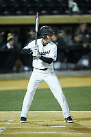 D.J. Poteet (4) of the Wake Forest Demon Deacons at bat against the Florida State Seminoles at David F. Couch Ballpark on March 9, 2018 in  Winston-Salem, North Carolina.  The Seminoles defeated the Demon Deacons 7-3.  (Brian Westerholt/Four Seam Images)