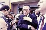 GIULIO ANDREOTTI CON MAURO BUBBICOSTUDI DI CINECITTA' ROMA 1983