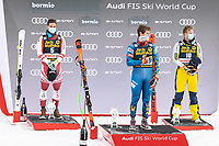 29th December 2020; Stelvio, Bormio, Italy; FIS World Cup Super G for Men;  left to right: second placed Vincent Kriechmayr of Austria winner Ryan Cochran Siegle of the USA third placed Adrian Smiseth Sejersted of Norway during the winners ceremony