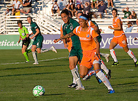 Sky Blue FC forward Natasha Kai (6)and Saint Louis Athletica defender Nikki Cross (19) during a WPS match at Anheuser Busch Soccer Park, in St. Louis, MO, July 22 2009. Athletica won the match 1-0.