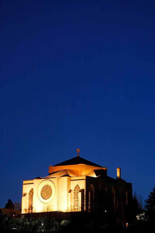 St. Mark's Episcopal Cathedral under twilight sky, Seattle, Washington, USA