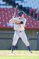 Adam Law #6 of the Rancho Cucamonga Quakes bats against the High Desert Mavericks at Stater Bros. Stadium on May 27, 2014 in Adelanto, California. High Desert defeated Rancho Cucamonga, 5-4. (Larry Goren/Four Seam Images)