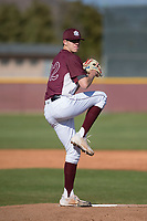 Mountain Ridge Mountain Lions starting pitcher Matthew Liberatore (32) warms up before a game against the Boulder Creek Jaguars at Mountain Ridge High School on February 28, 2018 in Glendale, Arizona. Liberatore collected 14 strikeouts in his first appearance of the spring, leading the Mountain Lions to a 6-3 conference victory. (Zachary Lucy/Four Seam Images)