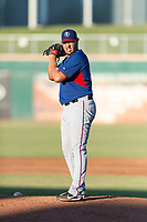 AZL Rangers relief pitcher Jesus Linarez (86) gets ready to deliver a pitch during an Arizona League playoff game against the AZL Indians 1 at Goodyear Ballpark on August 28, 2018 in Goodyear, Arizona. The AZL Rangers defeated the AZL Indians 1 7-4. (Zachary Lucy/Four Seam Images)