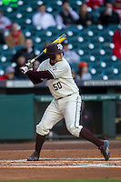 Texas A&M Aggies third baseman Hunter Melton (50) at bat during Houston College Classic against the Nebraska Cornhuskers on March 6, 2015 at Minute Maid Park in Houston, Texas. Texas A&M defeated Nebraska 2-1. (Andrew Woolley/Four Seam Images)