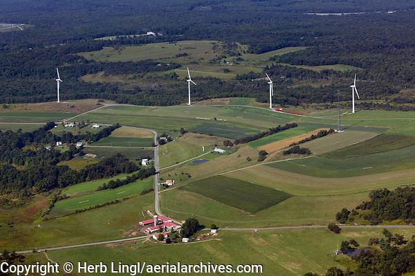 aerial photographs of wind turbines in farm land in rural Pennsylvania