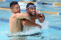 Warrior's Shaun Johnson, left, pool session after training at Carisbrook, Moana pool, Dunedin, New Zealand, Friday, February 20, 2013. Credit:NINZ / Dianne Manson.