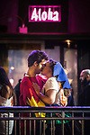 "© Joel Goodman - 07973 332324 . 16/11/2015 . Manchester , UK . A couple kiss at the event . Annual student pub crawl "" Carnage "" at Manchester's Deansgate Locks nightclubs venue . The event sees students visit several clubs over the course of an evening . This year's theme is "" Animal Instinct - unleash your beast "" . Photo credit : Joel Goodman"
