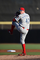 Clearwater Threshers pitcher David Whitehead (47) delivers a pitch during a game against the Dunedin Blue Jays on April 10, 2015 at Florida Auto Exchange Stadium in Dunedin, Florida.  Clearwater defeated Dunedin 2-0.  (Mike Janes/Four Seam Images)