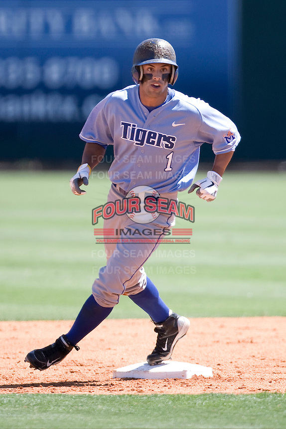 Memphis Tigers outfielder Drew Martinez #1 rounds second base against the Rice Owls in NCAA Conference USA baseball on May 14, 2011 at Reckling Park in Houston, Texas. (Photo by Andrew Woolley / Four Seam Images)