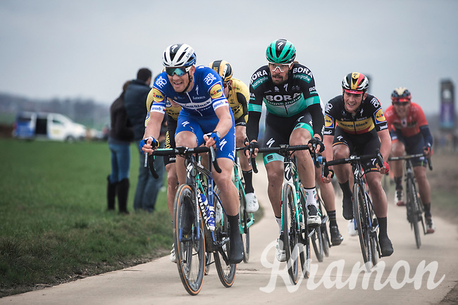 Zdenek Stybar (CZE/Deceuninck-Quick Step) and Daniël Oss (ITA/Bora Hansgrohe) leading the chase. <br /> <br /> 74th Omloop Het Nieuwsblad 2019 (BEL)<br /> Gent – Ninove: 200km<br /> ©kramon