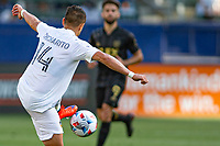 CARSON, CA - MAY 8: Javier Hernandez #14 of the Los Angeles Galaxy turns with the ball during a game between Los Angeles FC and Los Angeles Galaxy at Dignity Health Sports Park on May 8, 2021 in Carson, California.