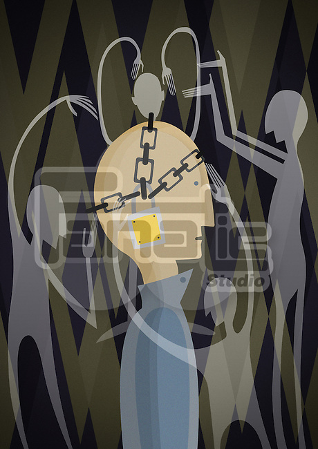 Conceptual illustration of man's head chained with padlock depicting control