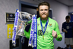 Livingston v St Johnstone …28.02.21   Hampden   BetFred Cup Final<br /> Zander Clark pictured in the dressing room after winning the BETFRED Cup<br /> Picture by Graeme Hart.<br /> Copyright Perthshire Picture Agency<br /> Tel: 01738 623350  Mobile: 07990 594431