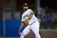 Sussex County Miners relief pitcher ElHajj Muhammad (32) in action against the New Jersey Jackals at Skylands Stadium on July 29, 2017 in Augusta, New Jersey.  The Miners defeated the Jackals 7-0.  (Brian Westerholt/Four Seam Images)