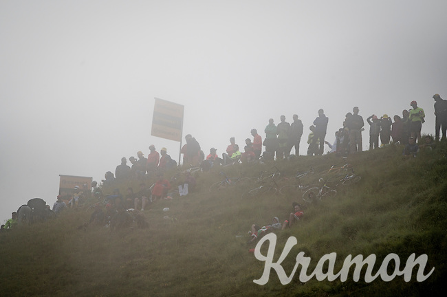 fans in a cloud awaiting the riders in the final kilometers up the final climb of the day; the Col du Portet (HC/2215m)<br /> <br /> Stage 17 from Muret to Saint-Lary-Soulan (Col du Portet)(178km)<br /> 108th Tour de France 2021 (2.UWT)<br /> <br /> ©kramon