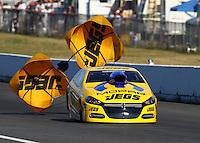 Aug. 1, 2014; Kent, WA, USA; NHRA pro stock driver Jeg Coughlin Jr during qualifying for the Northwest Nationals at Pacific Raceways. Mandatory Credit: Mark J. Rebilas-