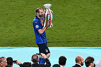 11th July 2021; Wembley Stadium, London, England; 2020 European Football Championships Final England versus Italy;  Giorgio Chiellini (Ita) collects the winners trophy