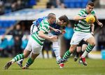 St Johnstone v Celtic…03.02.19…   McDiarmid Park    SPFL<br />Murray Davidson battles with Scott Brown<br />Picture by Graeme Hart. <br />Copyright Perthshire Picture Agency<br />Tel: 01738 623350  Mobile: 07990 594431