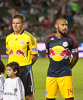 CARSON, CA - November 3, 2011: NY Red Bulls Frank Rost (1) and Thierry Henry (14) during the match between LA Galaxy and NY Red Bulls at the Home Depot Center in Carson, California. Final score LA Galaxy 2, NY Red Bulls 1.