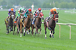 Horses enter turn #1 during 29th running of The Arlington Million Stakes ( Grade  I) on Arlington Million Day at  Arlington Park in Arlington Heights, IL  on 8/13/11. (Ryan Lasek / Eclipse Sportwire)