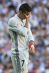 Real Madrid's Cristiano Ronaldo durign the match of La Liga between Real Madrid and SD Eibar at Santiago Bernabeu Stadium in Madrid. October 02, 2016. (ALTERPHOTOS/Rodrigo Jimenez)