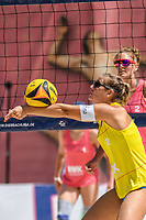 27th June 2020, Dusseldorf, Germany; The German Beach Volleyball League;  Cinja Tillmann lays up at the net