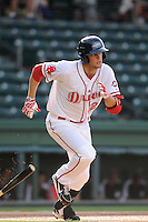Left fielder Alex Hassan (26) of the Greenville Drive in a game against the Hickory Crawdads on Friday, June 7, 2013, at Fluor Field at the West End in Greenville, South Carolina. Greenville won the resumption of this May 22 suspended game, 17-8. (Tom Priddy/Four Seam Images)