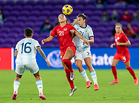 ORLANDO, FL - FEBRUARY 21: Jordyn Listro #21 of Canada goes up for a header with Adriana Sachs #21 of Argentina during a game between Canada and Argentina at Exploria Stadium on February 21, 2021 in Orlando, Florida.