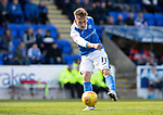 St Johnstone v Partick Thistle…28.04.18…  McDiarmid Park    SPFL<br />George Williams shoots straight at keeper Tomas Cerny<br />Picture by Graeme Hart. <br />Copyright Perthshire Picture Agency<br />Tel: 01738 623350  Mobile: 07990 594431