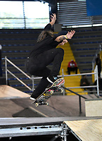 BOGOTA - COLOMBIA - 12 - 08 - 2017: Ginneth Molina, Skater de Colombia, durante competencia en el Primer Campeonato Panamericano de Skateboarding, que se realiza en el Palacio de los Deportes en la Ciudad de Bogota. / Ginneth Molina, Skater from Colombia, during a competitions in the First Pan American Championship of Skateboarding, that takes place in the Palace of Sports in the City of Bogota. Photo: VizzorImage / Luis Ramirez / Staff.