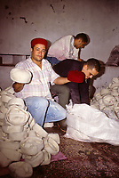 Tunisian Hat, Chechia.  Hats after Boiling have become smaller and thicker, as wool contracts.  Now ready for dyeing.