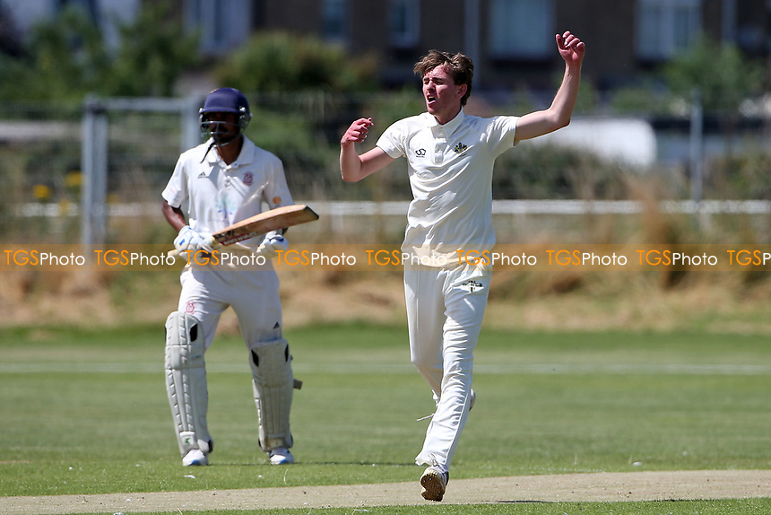 Sam Hewitt of Gidea Park goes close to a wicket during Oakfield Parkonians CC (batting) vs Gidea Park and Romford CC, Hamro Foundation Essex League Cricket at Oakfield Playing Fields on 17th July 2021