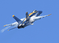 FORT LAUDERDALE, FL - MAY 04: U.S. Navy Blue Angels Team  performs in the Fort Lauderdale Air Show on May 4, 2019 in Fort Lauderdale, Florida<br /> <br /> <br /> People:  U.S. Navy Blue Angels Team