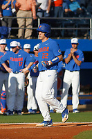 University of Florida Gators catcher JJ Schwarz (22) running the bases during a game against the Siena Saints at Alfred A. McKethan Stadium in Gainesville, Florida on February 17, 2018. Florida defeated Siena 10-2. (Robert Gurganus/Four Seam Images)