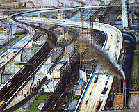 American Painters:  Wayne Thiebaud--Freeways, 1978-79.  Oil on canvas.  Private Collection.