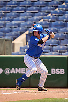 Memphis Tigers Chris Swanberg (18) bats during a game against the East Carolina Pirates on May 25, 2021 at BayCare Ballpark in Clearwater, Florida.  (Mike Janes/Four Seam Images)