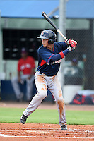 GCL Red Sox shortstop Javier Guerra (12) at bat during a game against the GCL Rays on June 24, 2014 at Charlotte Sports Park in Port Charlotte, Florida.  GCL Red Sox defeated the GCL Rays 5-3.  (Mike Janes/Four Seam Images)