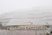 Sign with Hermitage M Chapoutier. The Hermitage vineyards on the hill behind the city Tain-l'Hermitage, on the steep sloping hill, stone terraced. Sometimes spelled Ermitage. Vineyards under snow in seasonably exceptional weather in April 2005. Tain l'Hermitage, Drome, Drôme, France, Europe