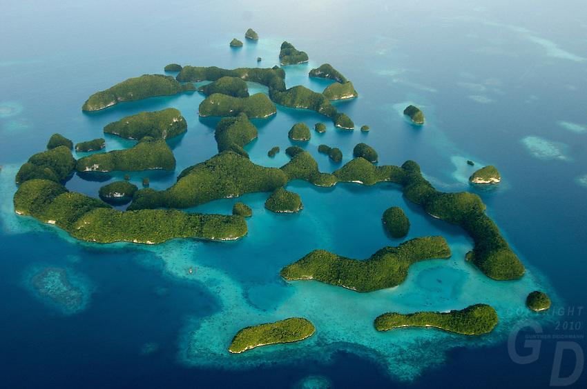 AERIAL OF THE ROCK ISLANDS PALAU, MICRONESIA, THE 70 ISLANDS