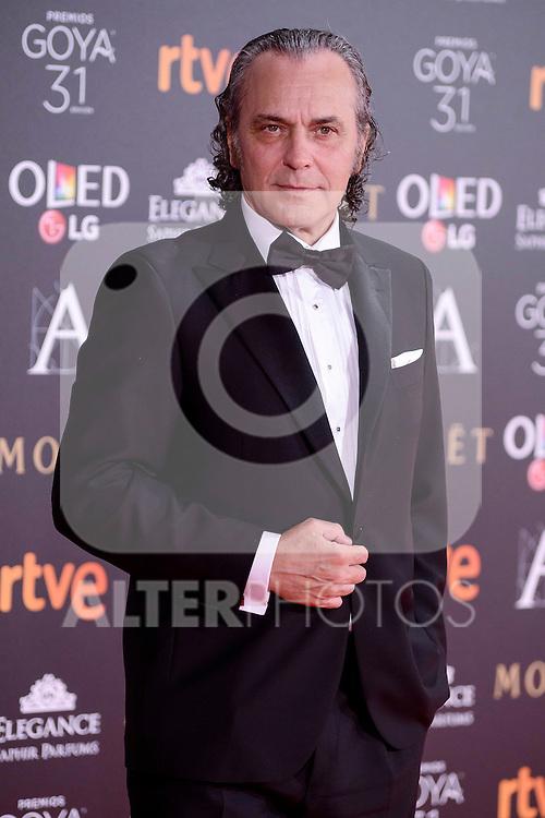 Jose Coronado attends to the Red Carpet of the Goya Awards 2017 at Madrid Marriott Auditorium Hotel in Madrid, Spain. February 04, 2017. (ALTERPHOTOS/BorjaB.Hojas)