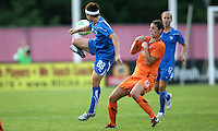 Forward Tiffany Weimer (88) of Boston flicks the ball back to teammate Leslie Osborne (12) as Sky Blue midfielder Yael Averbuch (13) steps back.  The Breakers and Sky Blue played to a scoreless tie at Yurcak Field in Picataway, NJ, on Saturday, May 29th.