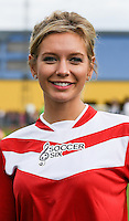 London, UK on Sunday 31st August, 2014. Rachel Riley during the Soccer Six charity celebrity football tournament at Mile End Stadium, London.