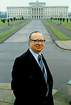 Gerry Fitt MP standing outside of Stormont Belfast 1980s.