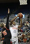 Gorman's Ronnie Stanley drives past Douglas defender Hunter Myers during a semi-final game in the NIAA 4A State Basketball Championships between Bishop Gorman and Douglas high schools at Lawlor Events Center in Reno, Nev, on Thursday, Feb. 23, 2012. .Photo by Cathleen Allison