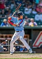 23 June 2019: New Hampshire Fisher Cats infielder Logan Warmoth at bat against the Trenton Thunder at Northeast Delta Dental Stadium in Manchester, NH. The Thunder defeated the Fisher Cats 5-2 in Eastern League play. Mandatory Credit: Ed Wolfstein Photo *** RAW (NEF) Image File Available ***