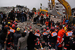 VAN, TURKEY: Rescue workers search for survivors...On October 23, 2011, a 7.2 magnitude earthquake hit eastern Turkey killing over 250 people and wounding over a thousand...Photo by Ali Arkady/Metrography