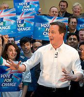 David Cameron during a rally at Linn Products near Glasgow for the Scottish Conservative Party - General Election 2010..4 May 2010 Picture: Maurice McDonald/Universal News And Sport (Europe)...