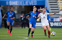 Columbus, Ohio - Thursday March 01, 2018: Faustine Robert during a 2018 SheBelieves Cup match between the women's national teams of the England (ENG) and France (FRA) at MAPFRE Stadium.